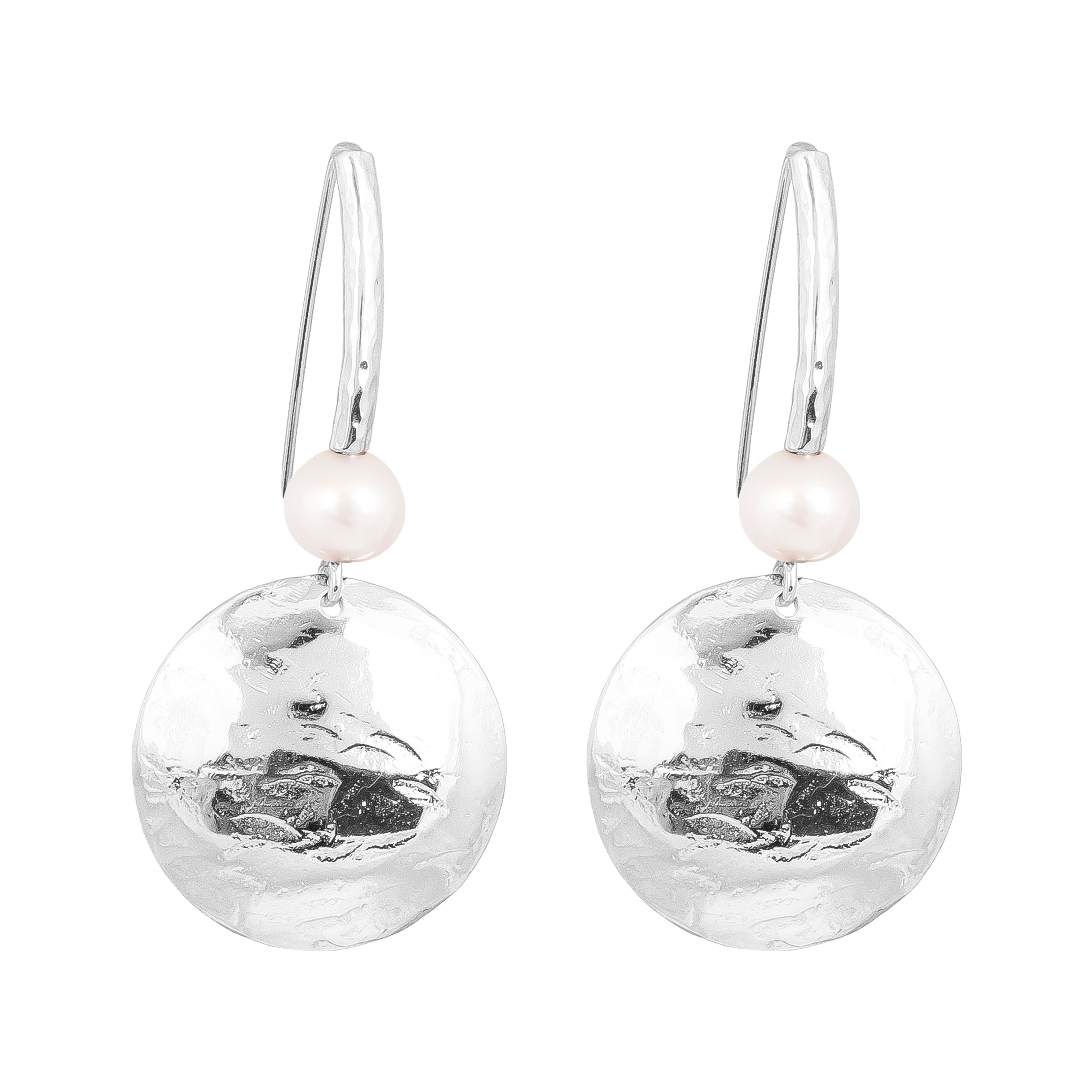 Genevieve Disc Earrings With Statement Hook | Silver With Pearl Detail