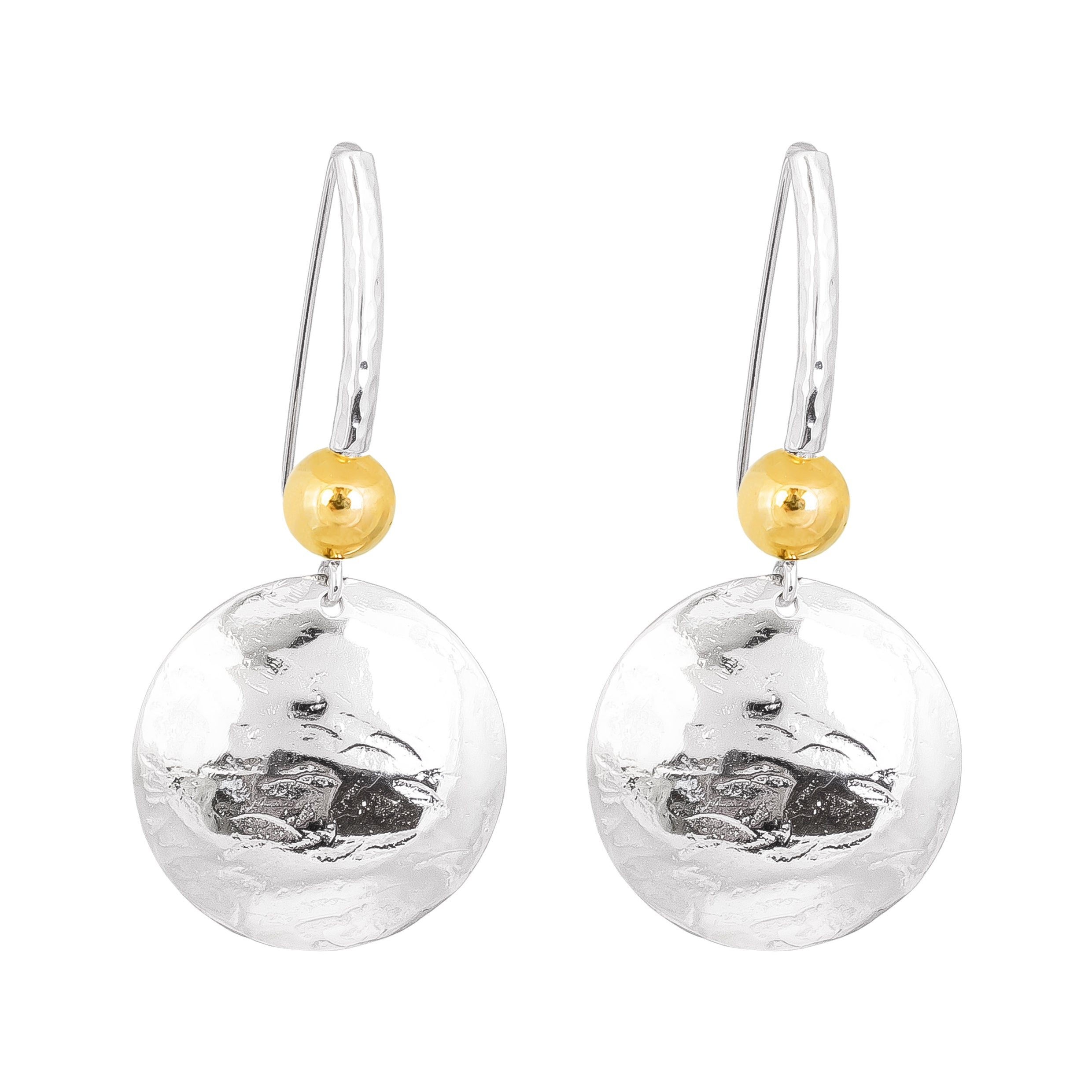 Genevieve Disc Earrings With Statement Hook | Silver With Polished Gold Detail