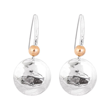 Genevieve Disc Earrings With Statement Hook | Silver With Polished Rose Detail