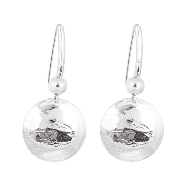 Genevieve Disc Earrings With Statement Hook | Silver With Polished Silver Detail
