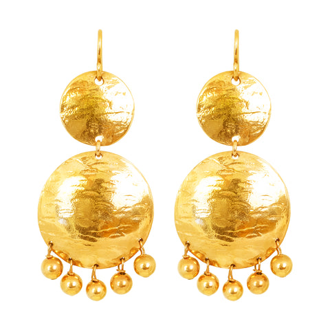 Genevieve Double Disc Earrings | Gold With Polished Gold Drops