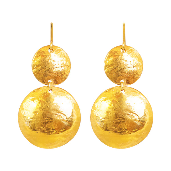 Genevieve Double Disc Earrings | Gold