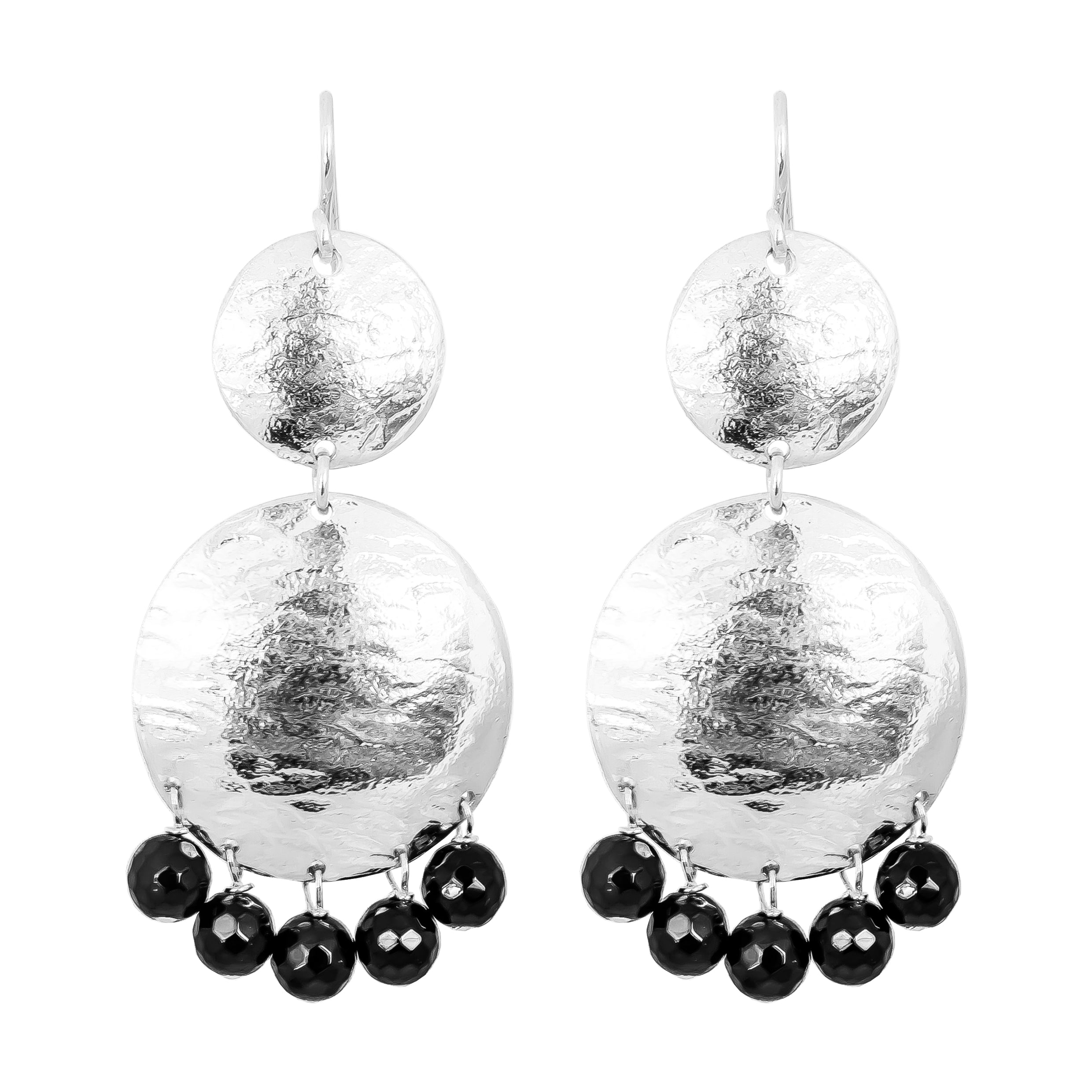 Genevieve Double Disc Earrings | Silver With Faceted Black Onyx Drops