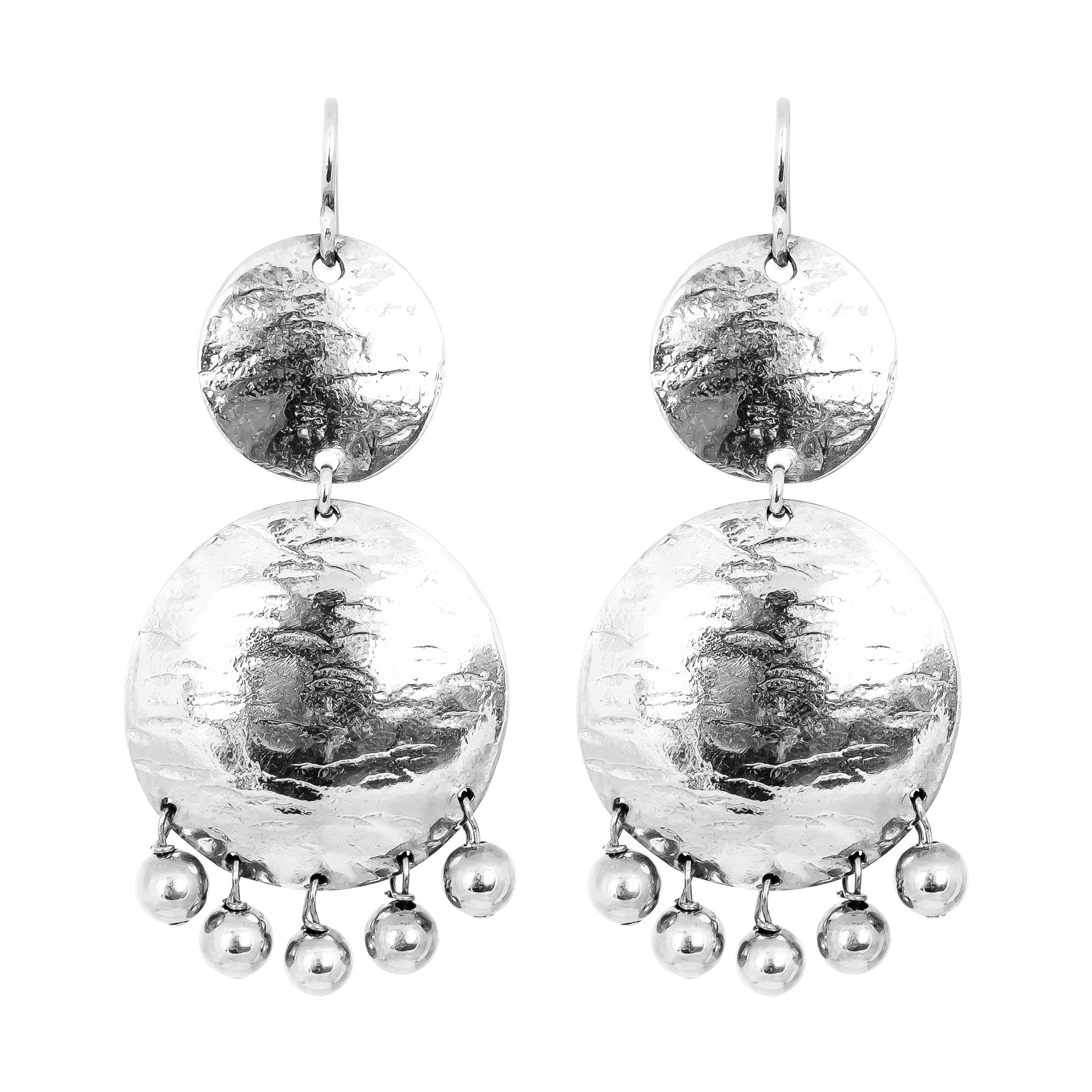 Genevieve Double Disc Earrings | Silver With Polished Silver Drops
