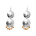 Genevieve Medium Double Disc Earrings | Silver With Polished Rose Drops