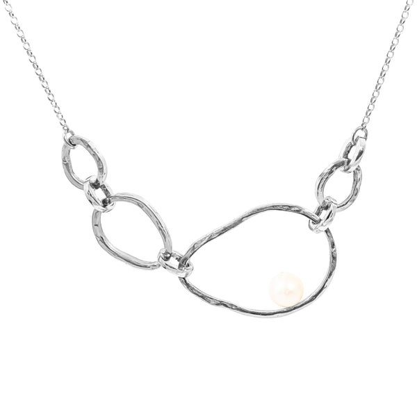 Gia Necklace | Silver With Pearl Detail