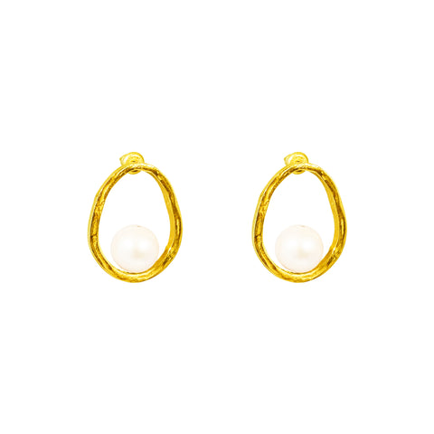 Gia Stud Earrings | Gold With Pearl Detail