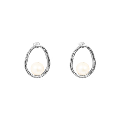 Gia Stud Earrings | Silver With Pearl Detail