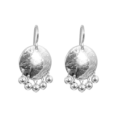 Harlow Medium Disc Earrings | Silver With Polished Silver Drops