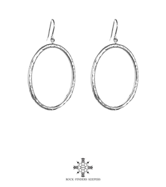 Harper Large Oval Hoop Earrings | Silver