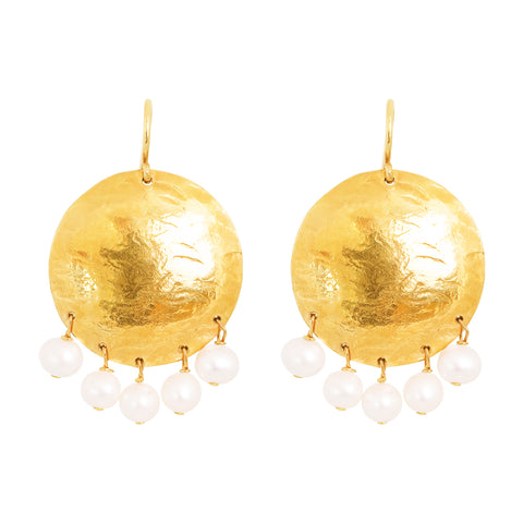 Harlow Large Disc Earrings | Gold With Pearl Drops