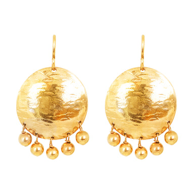 Harlow Large Disc Earrings | Gold With Polished Gold Drops