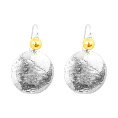 Harlow Large Disc Earrings | Silver With Polished Gold Detail Above