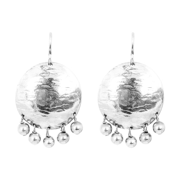 Harlow Large Disc Earrings | Silver With Polished Silver Drops