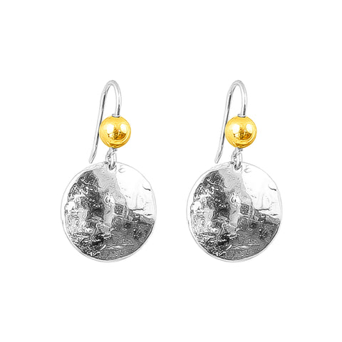 Harlow Medium Disc Earrings | Silver With Polished Gold Detail Above