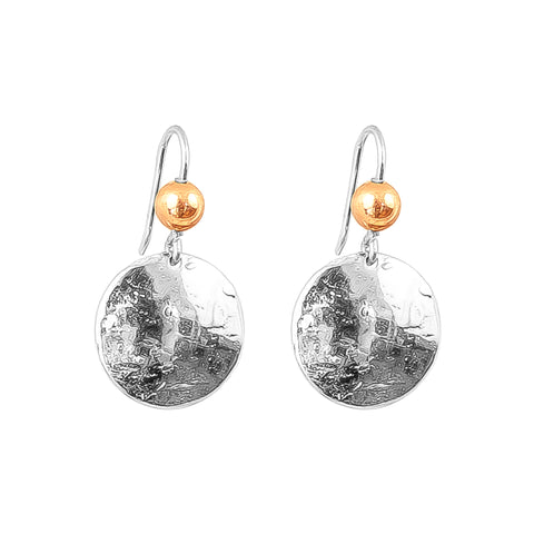 Harlow Medium Disc Earrings | Silver With Polished Rose Detail Above