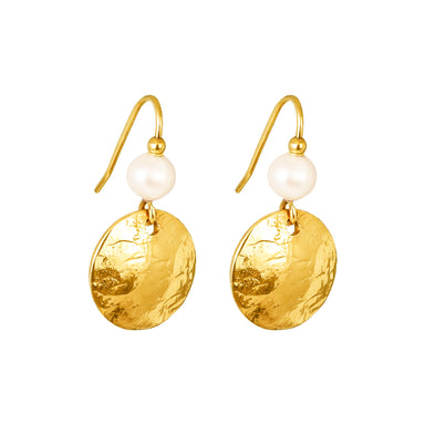 Harlow Small Disc Earrings | Gold With Pearl Detail Above