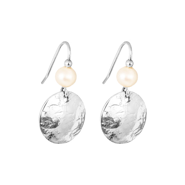 Harlow Small Disc Earrings | Silver With Pearl Detail Above