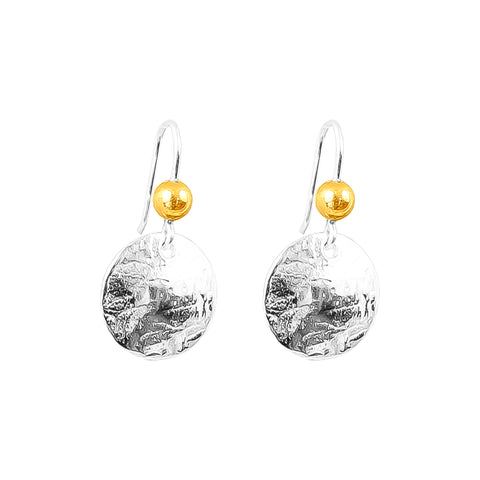 Harlow Small Disc Earrings | Silver With Polished Gold Detail Above