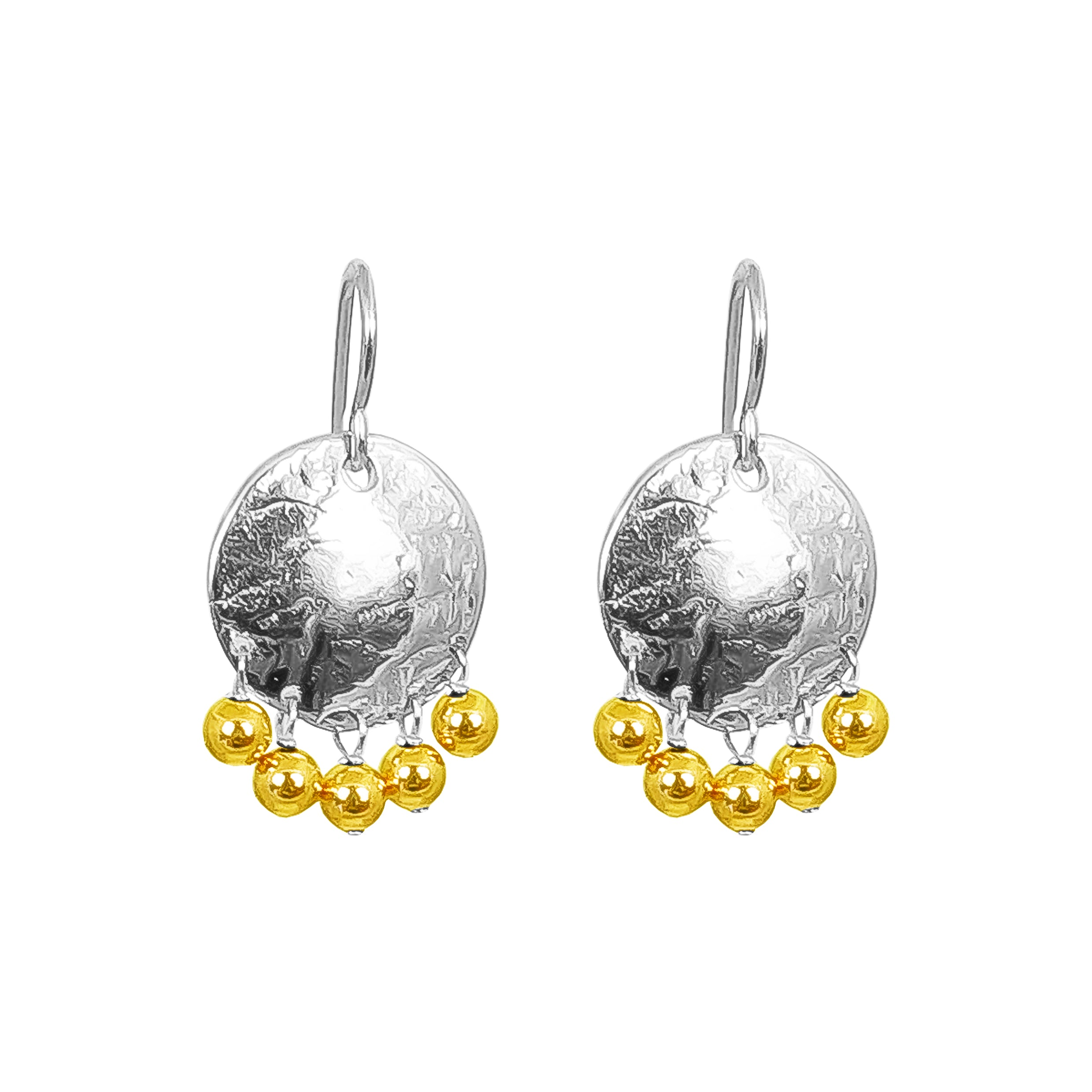 Harlow Small Disc Earrings | Silver With Polished Gold Drops
