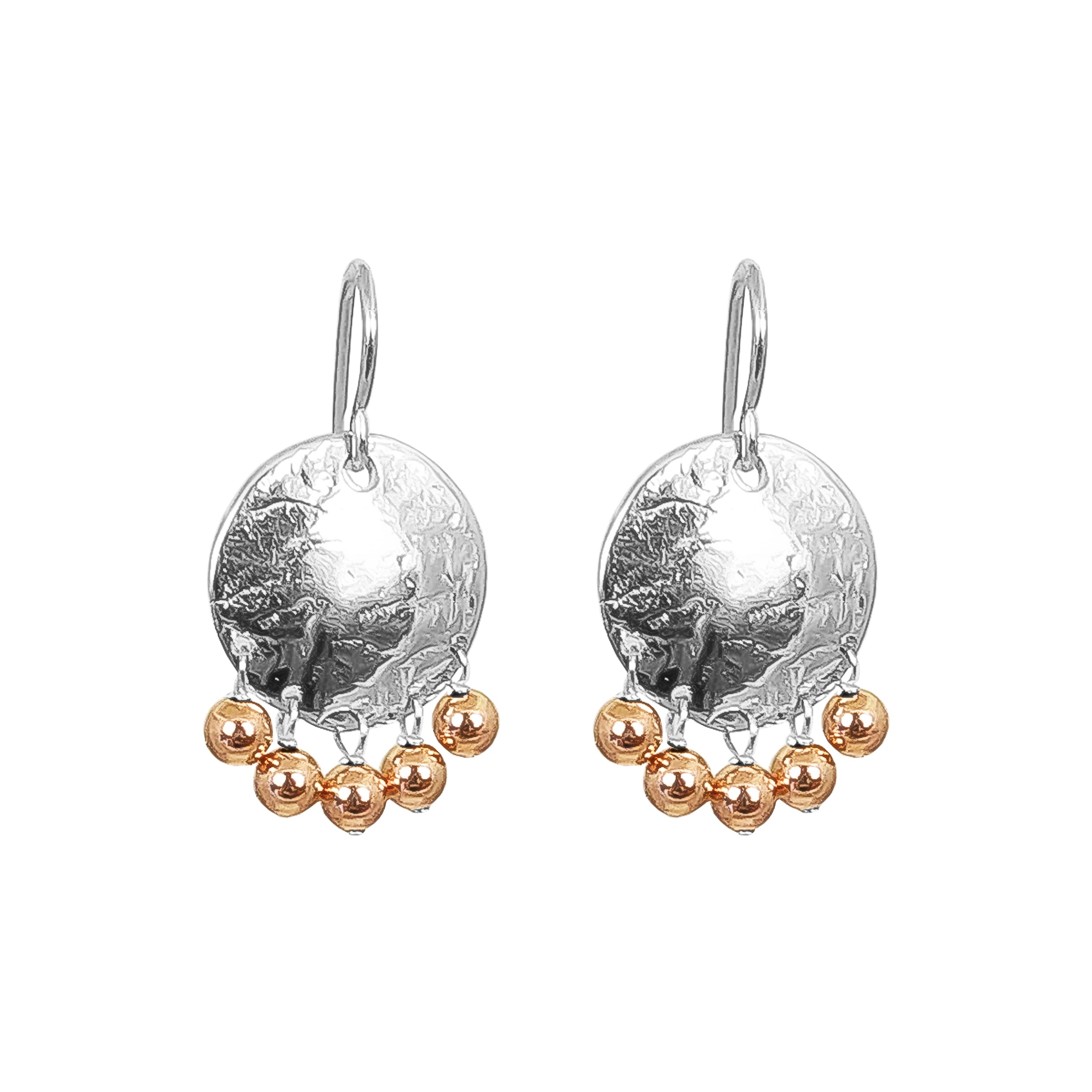Harlow Small Disc Earrings | Silver With Polished Rose Drops