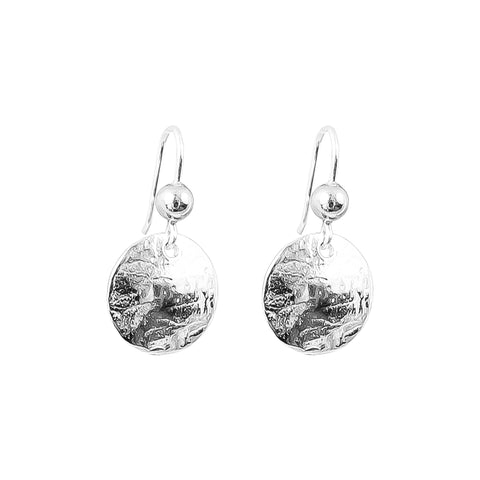 Harlow Small Disc Earrings | Silver With Polished Silver Detail Above