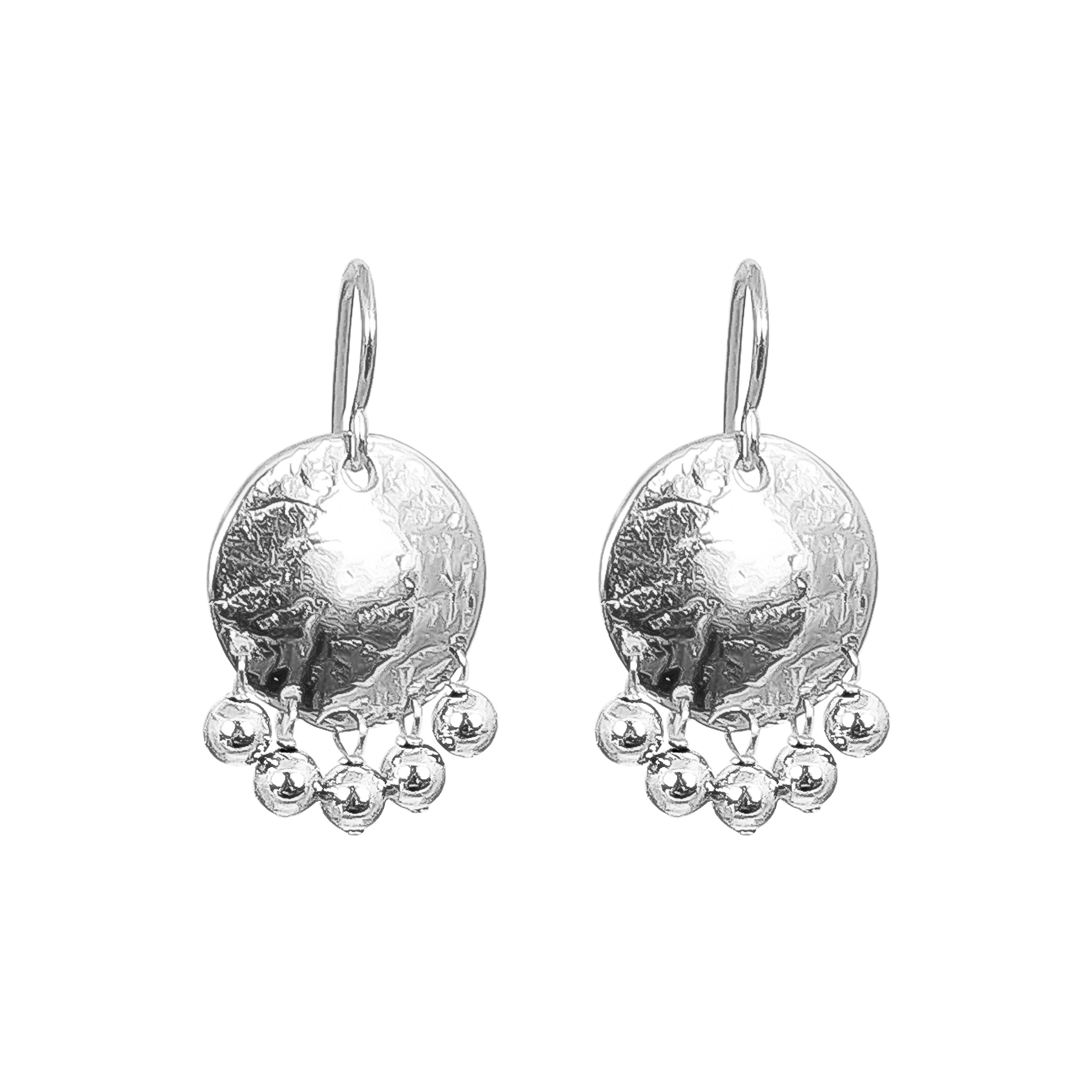 Harlow Small Disc Earrings | Silver With Polished Silver Drops