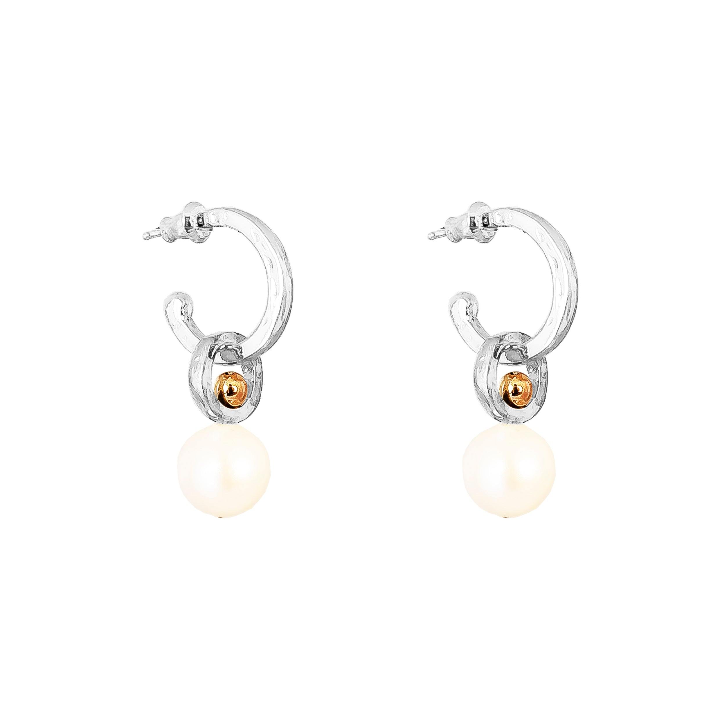 Hilton Hoop Earrings | Medium Pearl And Rose Detail