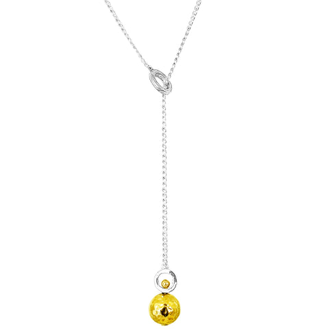 Hilton Large Charm Lariet Necklace - Long | Hammered Gold Detail