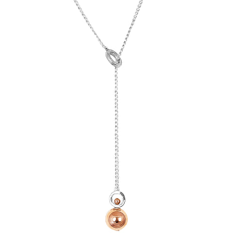Hilton Large Charm Lariet Necklace - Long | Polished Rose Detail