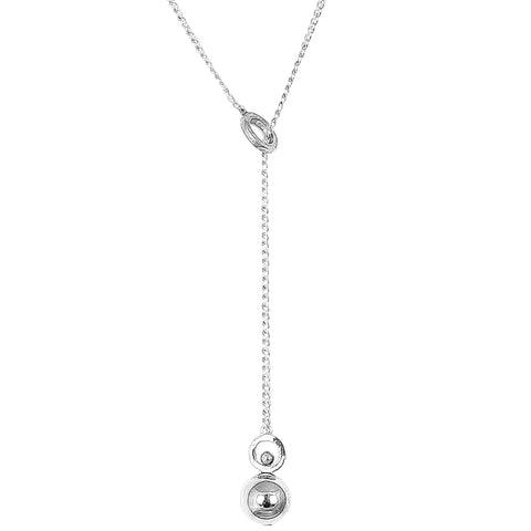 Hilton Large Charm Lariet Necklace - Long | Polished Silver Detail