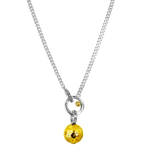 Hilton Large Charm Necklace | Hammered Gold Detail
