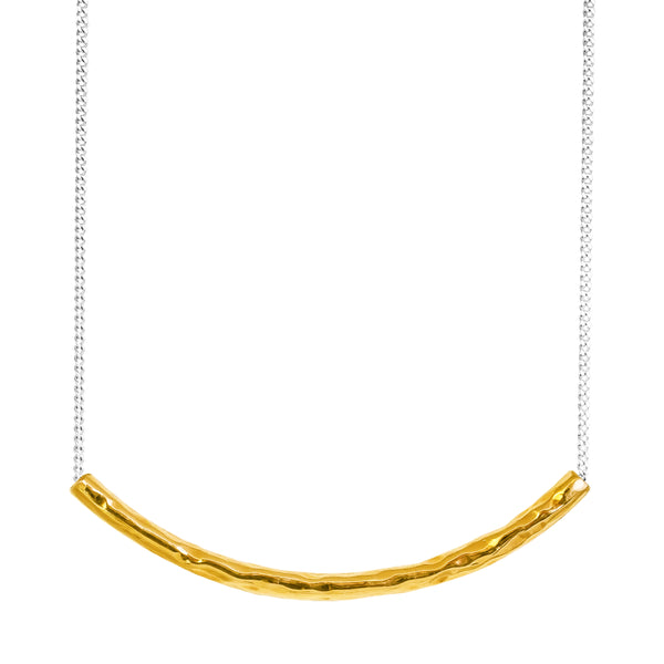 Husk Fine Hammered Bar Necklace | Gold
