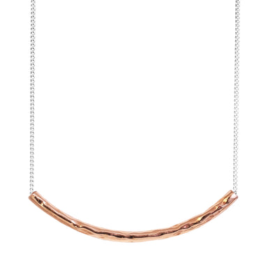Husk Fine Hammered Bar Necklace | Rose