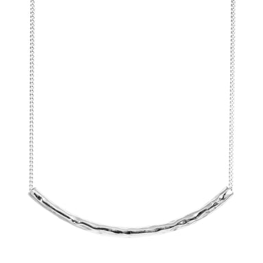 Husk Fine Hammered Bar Necklace | Silver
