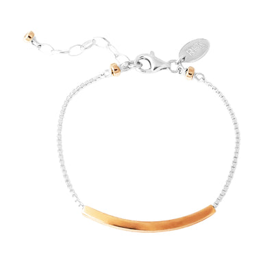 Husk Fine Polished Bar Bracelet | Rose Bar And Detail