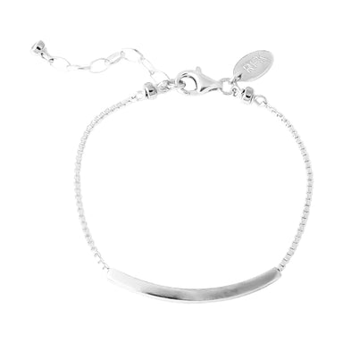 Husk Fine Polished Bar Bracelet | Silver Bar And Detail