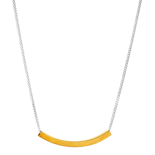 Husk Fine Polished Bar Necklace | Gold