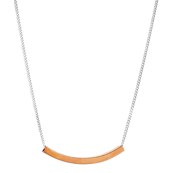 Husk Fine Polished Bar Necklace | Rose