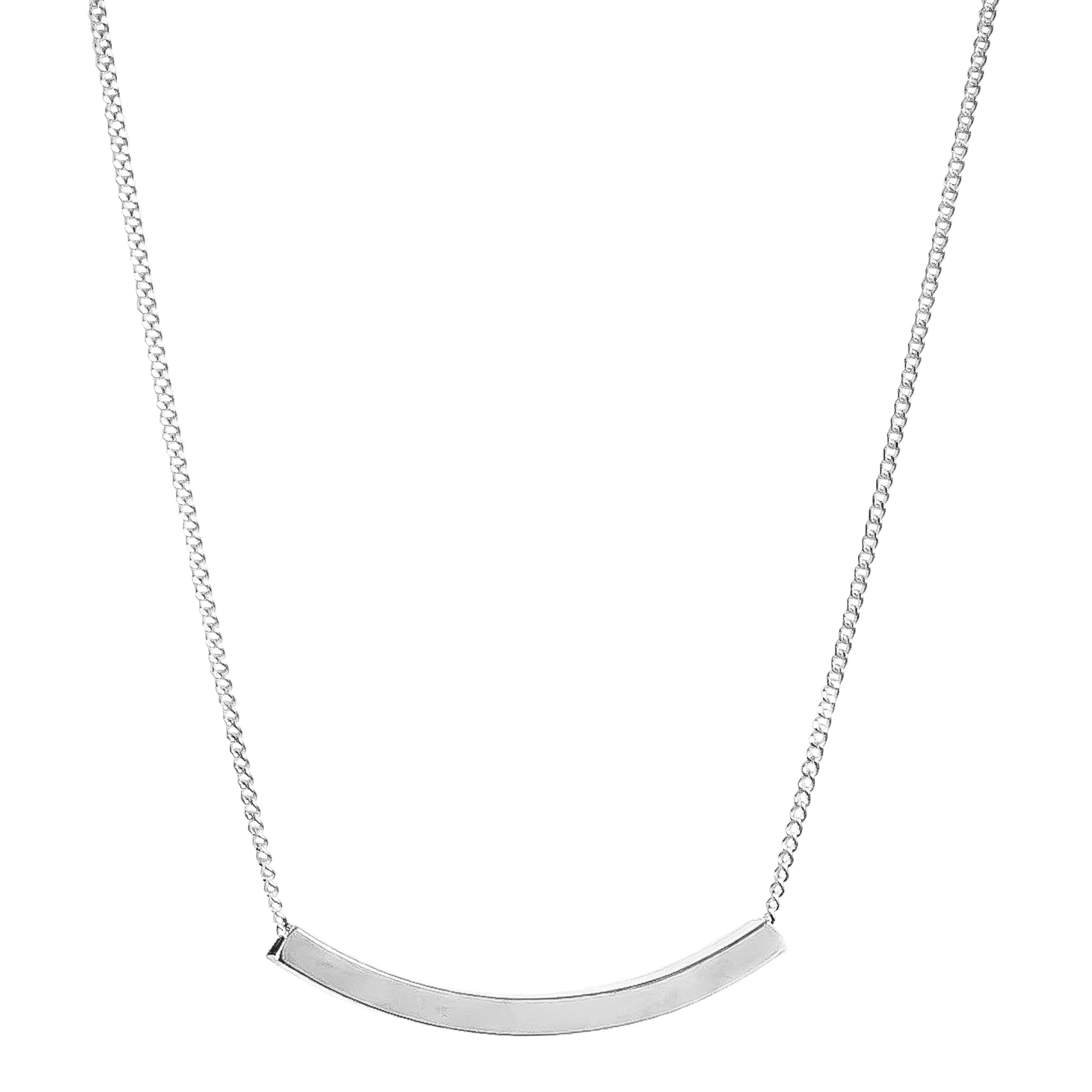 Husk Fine Polished Bar Necklace | Silver