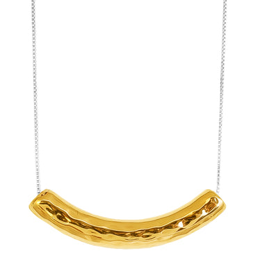 Husk Large Hammered Bar Necklace | Gold