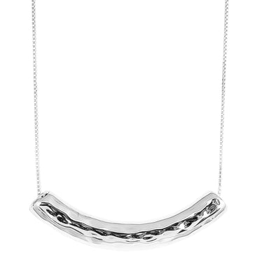 Husk Large Hammered Bar Necklace | Silver