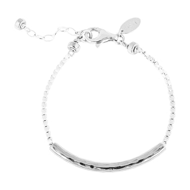 Husk Medium Hammered Bar Bracelet | Silver Bar And Detail