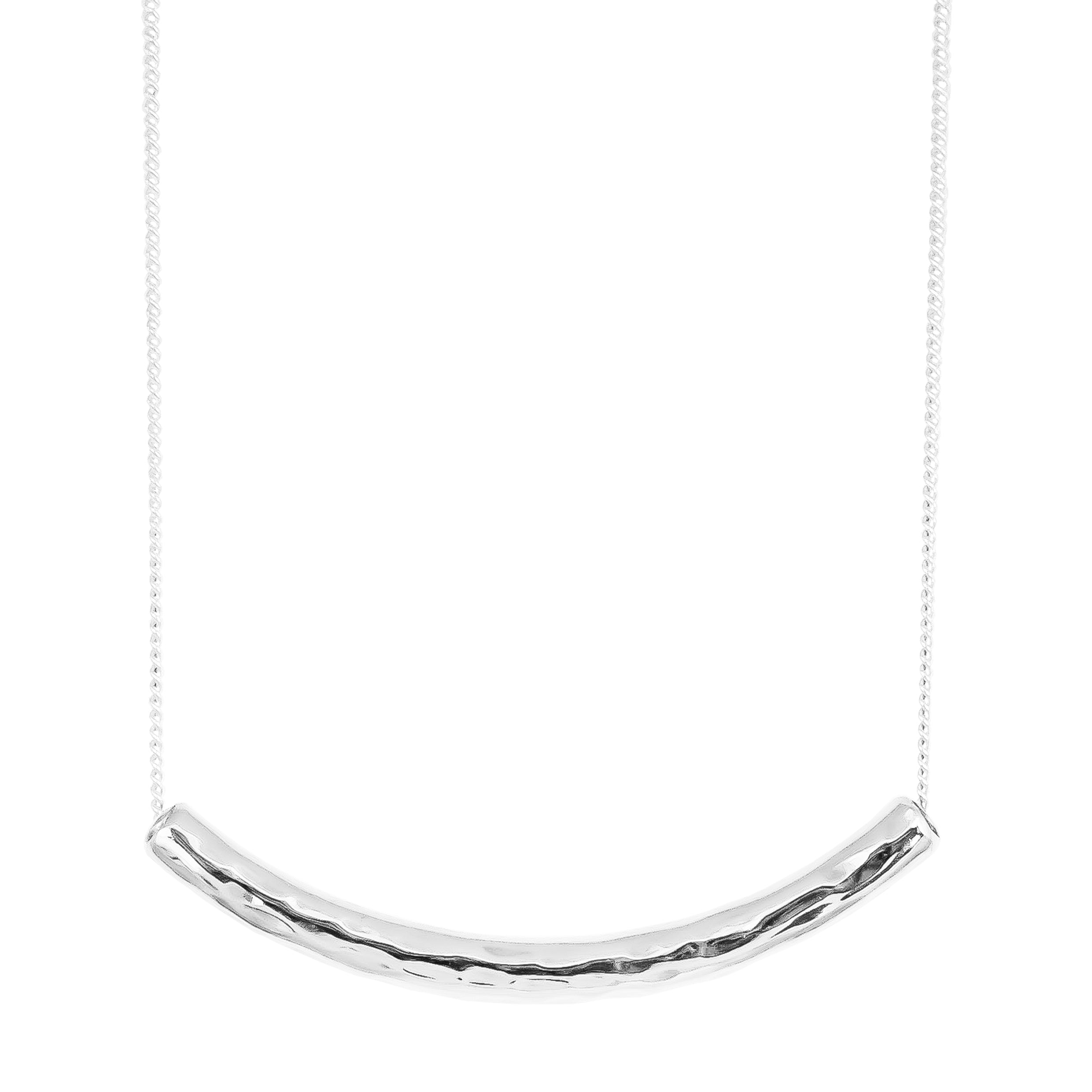 Husk Medium Hammered Bar Necklace | Silver