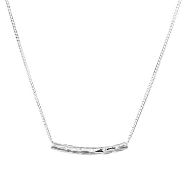 Husk Petite Hammered Bar Necklace | Silver