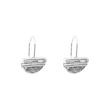 Inez Fine Statement Hook Earrings | Polished Silver Detail