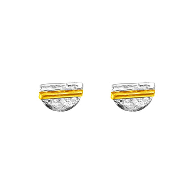 Inez Fine Stud Earrings | Polished Gold Detail