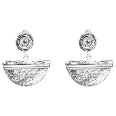 Inez Large Earrings | Polished Silver Detail