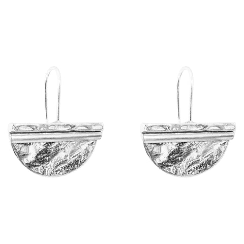 Inez Large Statement Hook Earrings | Polished Silver Detail