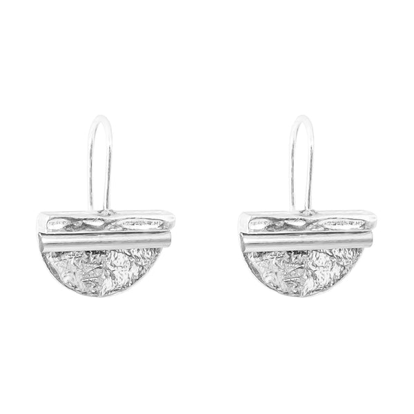 Inez Medium Statement Hook Earrings | Polished Silver Detail